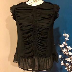 Black sleeveless rouched blouse